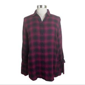 Express Burgundy Plaid Button-down Flannel